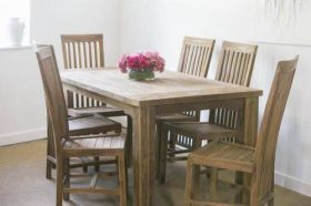 1.6m Reclaimed Teak Taplock Dining Table with 6 Santos Dining Chairs
