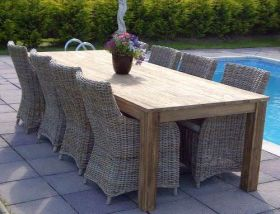 3m Reclaimed Teak Open Slatted Dining Table with 8 Donna Chairs