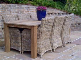 2m Reclaimed Teak Open Slatted Dining Table with 6 Donna Chairs