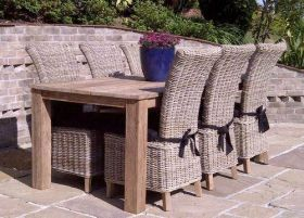 2m Reclaimed Teak Open Slatted Dining Table with 6 Latifa Chairs