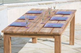 3m Rustic Reclaimed Teak Open Slat Dining Table