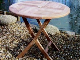 80cm Teak Circular Folding Table