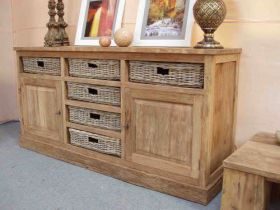 Reclaimed Teak Sideboard with 6 Natural Kubu Wicker Drawers