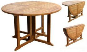 1.2m Teak Circular Gateleg Table
