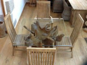 1.2m Reclaimed Teak Root Square Dining Table