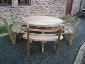 Round Picnic Bench with Back Rests