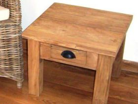 50cm Reclaimed Teak Compact Coffee Table with Drawer