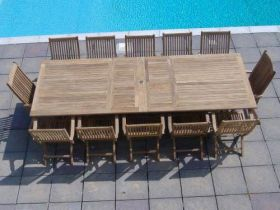 1.2m x 2.4m - 3.2m Teak Rectangular Double Extending Table with 10 Kiffa Folding Armchairs and 2 Harrogate Recliners