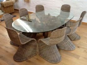 1.8m Oval Teak Root Dining Table with 8 Stackable Zorro Chairs
