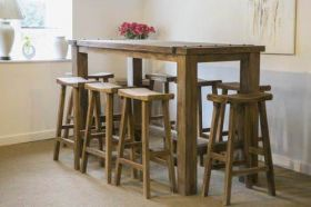 2m Rustic Character Bar Table with 8 Teak Bar Stools
