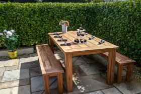 2m Reclaimed Teak Open Slatted Garden Table with 2 Backless Benches
