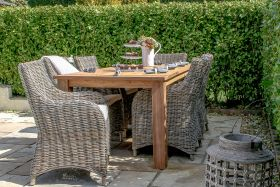 2m Reclaimed Teak Open Slatted Dining Table with 6 Donna Armchairs