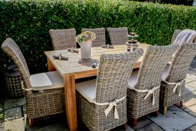 2m Reclaimed Teak Open Slatted Dining Table with 8 Latifa Chairs