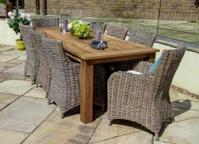 2.4m Reclaimed Teak Open Slatted Dining Table with 8 Donna Armchairs