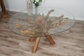 1.5m x 1.2m Reclaimed Teak Root Oval Dining Table