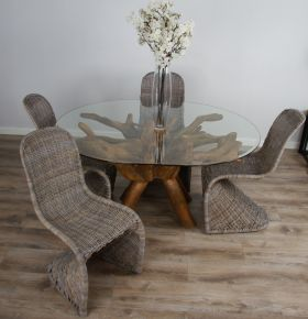 1.5m x 1.2m Reclaimed Teak Root Oval Dining Table with 4 or 6 Zorro Chairs