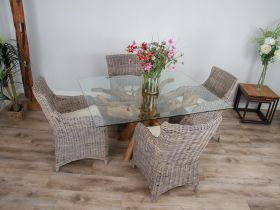 1.5m x 1.2m Reclaimed Teak Root Rectangular Dining Table with 4 or 6 Donna Armchairs