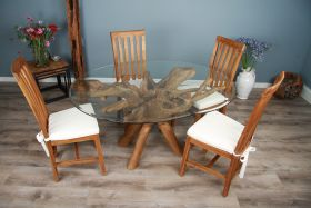 1.5m x 1.2m Reclaimed Teak Root Oval Dining Table with 4 or 6 Santos Chairs