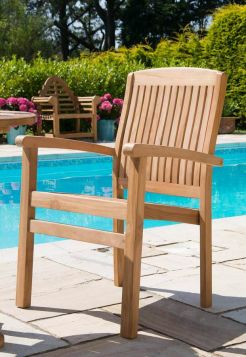 Marley Solid Teak Stacking Garden Armchair