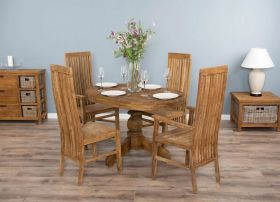 1.2m Reclaimed Teak Oval Pedestal Dining Table with 2 Vikka Dining Chairs & 2 Vikka Armchairs
