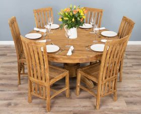 1.5m Reclaimed Teak Circular Pedestal Dining Table with 6 Santos Chairs