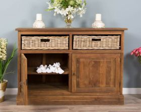Reclaimed Teak Dresser with Natural Wicker Drawers