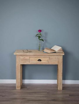 Reclaimed Teak Occasional/Hall Table White Wash Finish with Drawer