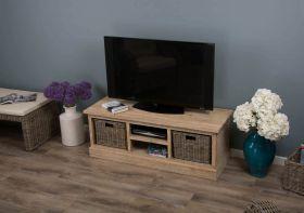Reclaimed Teak TV Cabinet with Kubu Wicker Draws - White Wash