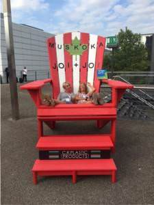 red and white adirondack chair